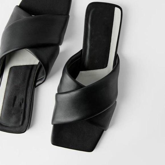Zara Square Toe Leather Slides